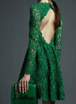 Valentino Resort 2013: Fashion, Emeralds Green Dresses, Emerald Green, Valentino, Style, Green Lace Dresses, Colors, Greendresses, Open Back