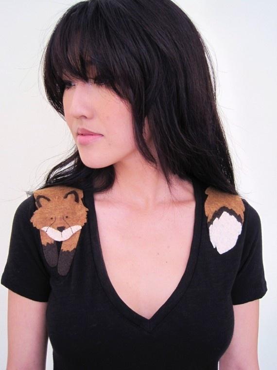 DIYDiy Ideas, Tees Shirts, Fashion, Wraps Foxes, Foxes T Shirts, Foxes Tshirt, Foxes Shirts, Felt Foxes, Black