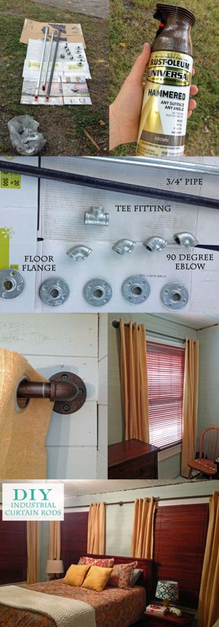 Easy DIY curtain rod out of plumbing parts! About $30 a window. Great industrial look on a budget.