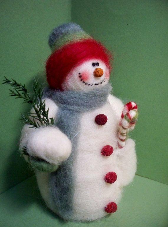Muñeco de nieve de nieve bolsillos lana por WhimsicalWoolies