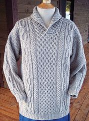 Knit from the top down, this fun Aran pattern features interesting cable patterns and a cozy shawl collar for warmth.