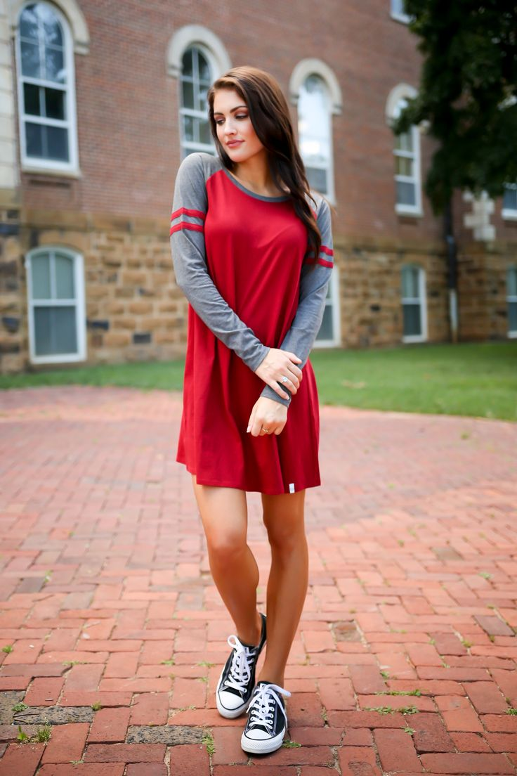 Our new Varsity Long Sleeve Dress is perfect for tailgate Saturday's or casual date nights!