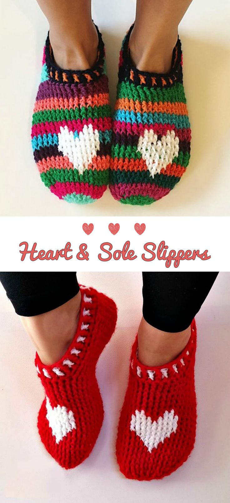 Crochet Heart & Sole Slippers