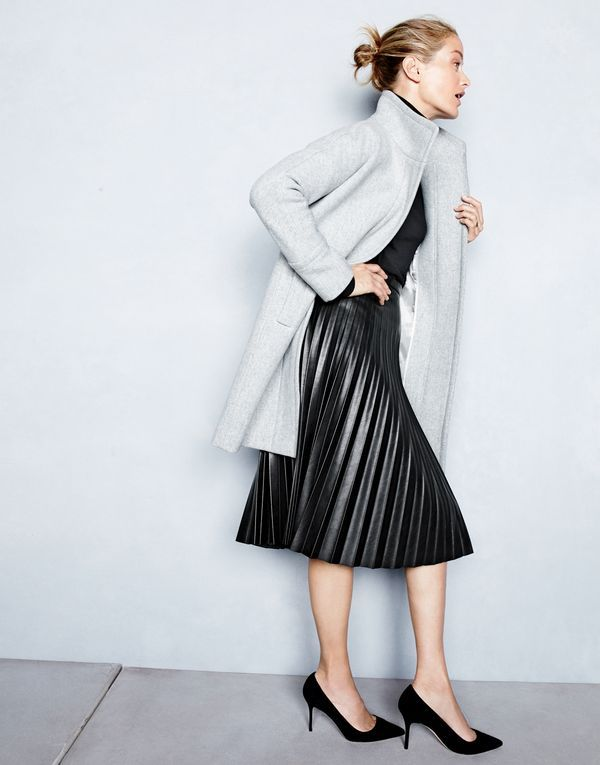 J.Crew women's stadium-cloth cocoon coat, classic turtleneck sweater, faux-leather pleated midi skirt and Elsie suede pumps.