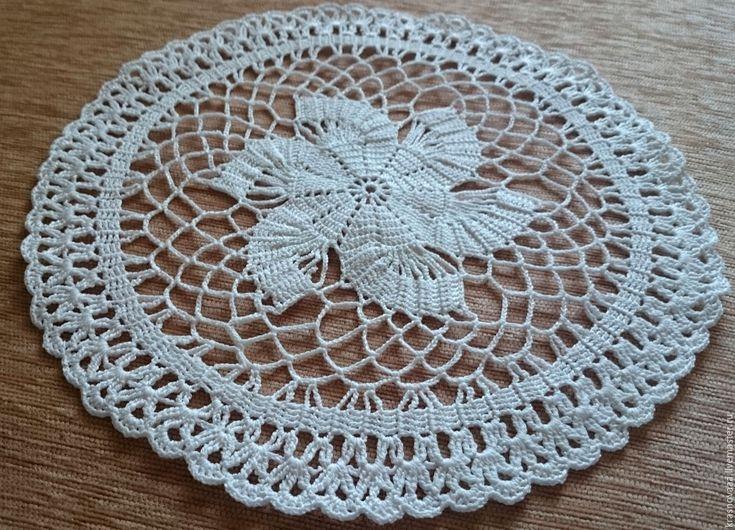 Купить Салфетка №2 - белый, салфетка крючком, салфетка, круглая салфетка, белая, белый цвет
