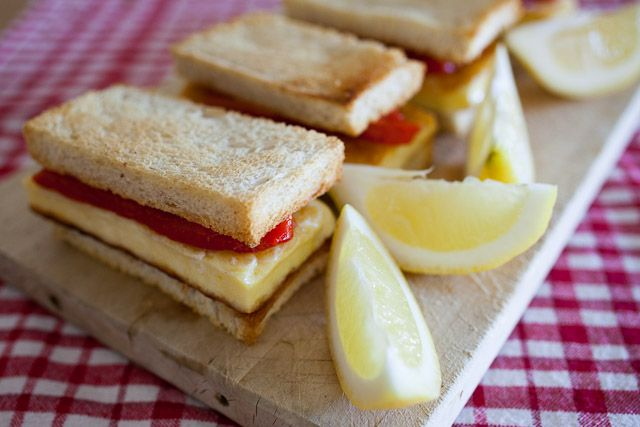 Grilled halloumi and roasted red pepper sandwiches