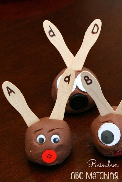 ABC Reindeer Game - This fun alphabet activity for kids is a fun, hands on learning activity for toddler, preschool, and kindergarten age kids in December (Christmas activity, counting, numbers, early  math, alphabet activity)