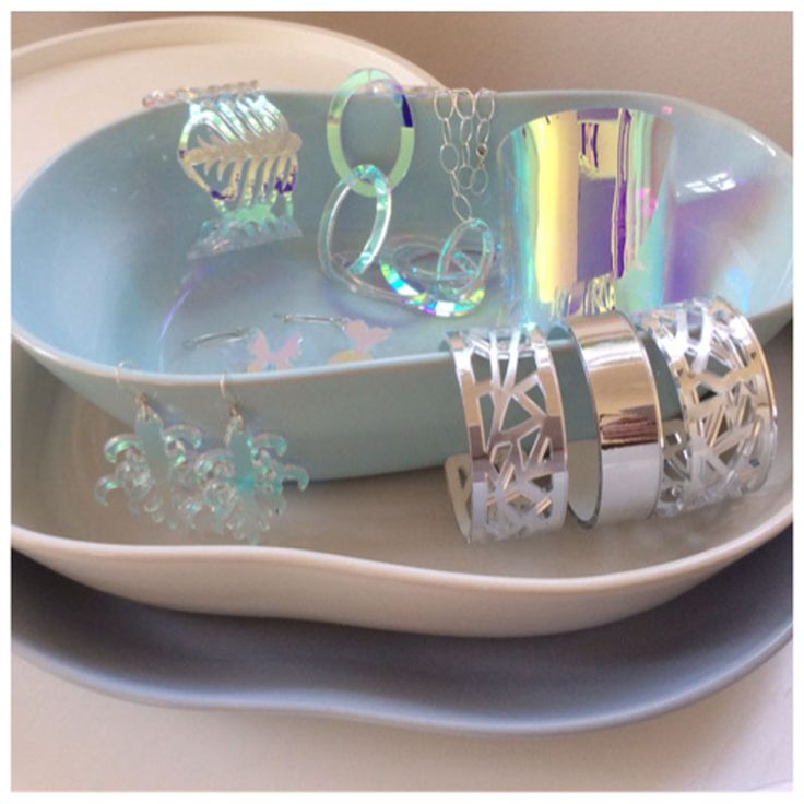 Cooee Design acrylic jewellery colours silver and oil