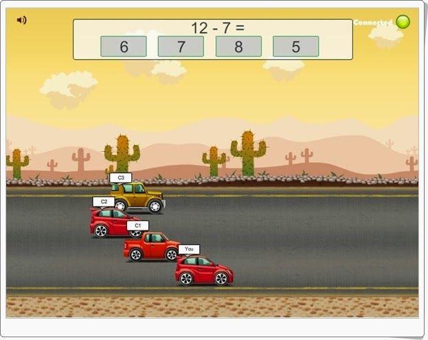 """""""Road Rally"""" es un juego de carreras de coches en el que para avanzar y que pueda ganar tu coche es necesario responder acertadamente a sencillas restas pero con rapidez."""