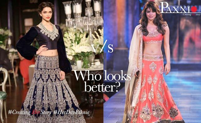 Who looks better? Deepika Padukone Vs Priyanka Chopra  #Rush & #Buy your #DreamDresses only at #Paxxio - Exclusive Online site for shopping in India http://www.paxxio.in/fashion/women/ethnic-wear/lehnga.html #CreatingHerStory #HerDayEthnic