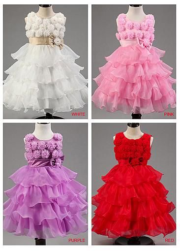 In Stock Attractive Organza Jewel Neckline A-Line Flower Girl Dresses With Handmade Flowers