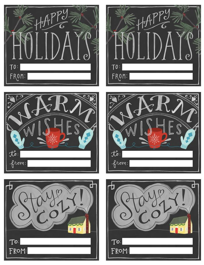 free chalkboard style printable holiday gift tags - Free Holiday Printables