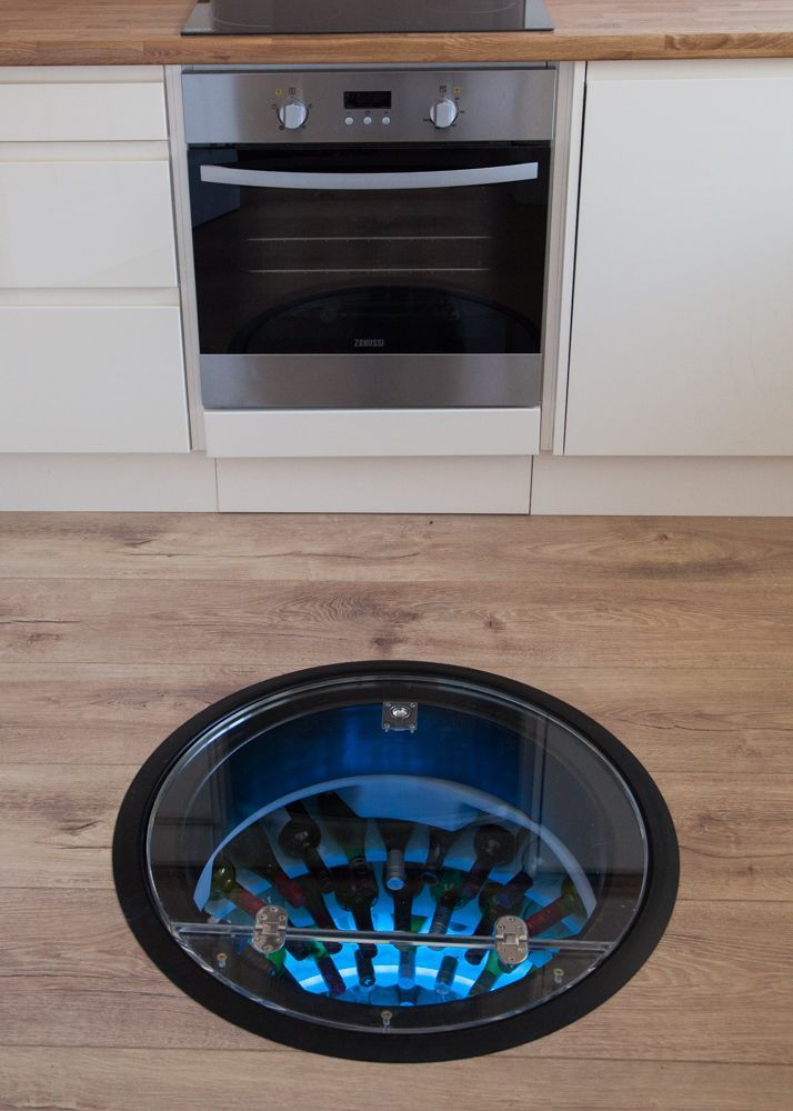 Wine Cellar Pod underfloor wine cellar, fits in even the smallest kitchens, making a fantastic space saving device.