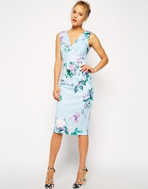 ASOS Blue Floral Pencil Printed Bodycon Dress