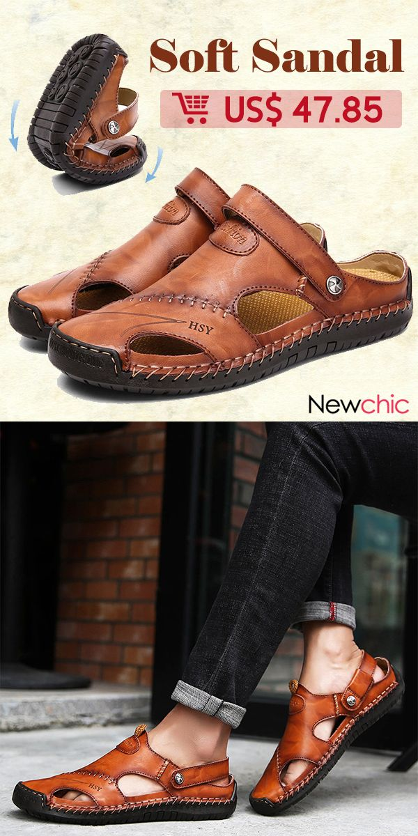 a91084be0dd5  Collection Men Hand Stitching Soft Outdoor Closed Toe Leather Sandals.   sandals  menswear  mens