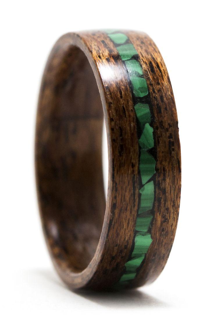 Mahogany wood ring with malachite inlay wood rings