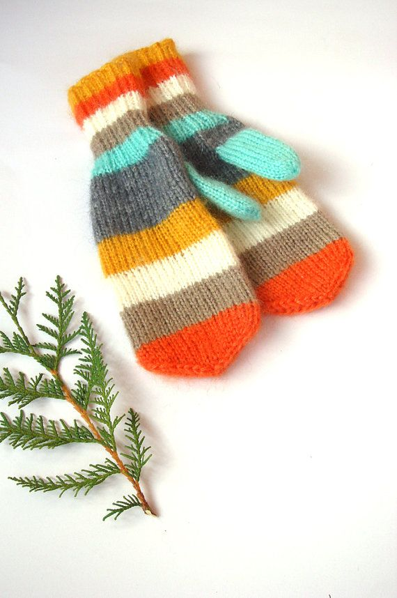 Orange mittens knitted accessory women gloves by RainbowMittens