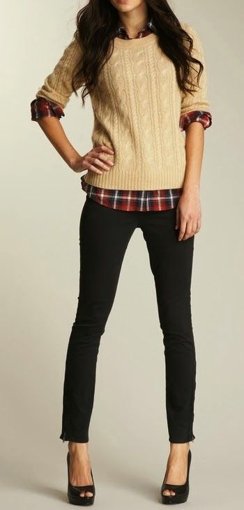 perfect preppy outfit. tartan button down - cream sweater - skinny jeans - heels