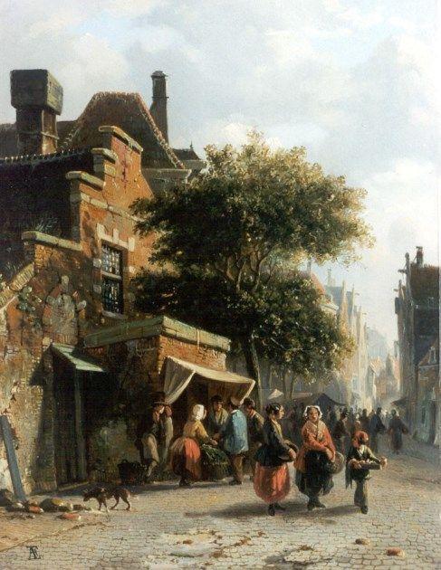 Adrianus Eversen (Amsterdam 1818-1897 Delft) Market day - Dutch Art Gallery Simonis and Buunk Ede, Netherlands.