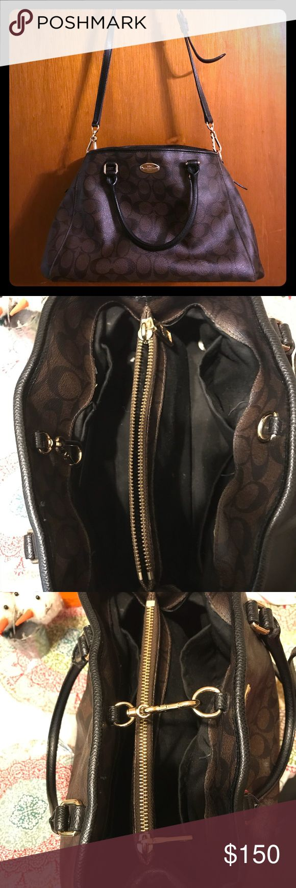 Leather Coach purse Sturdy brown leather Coach bag with gold accessories. Double section divided by a zipper pocket. Two small pockets on one side and a larger pocket on the other. No blemishes on the outside. Has very little wear on the inside just lint. In very good condition. Coach Bags Satchels