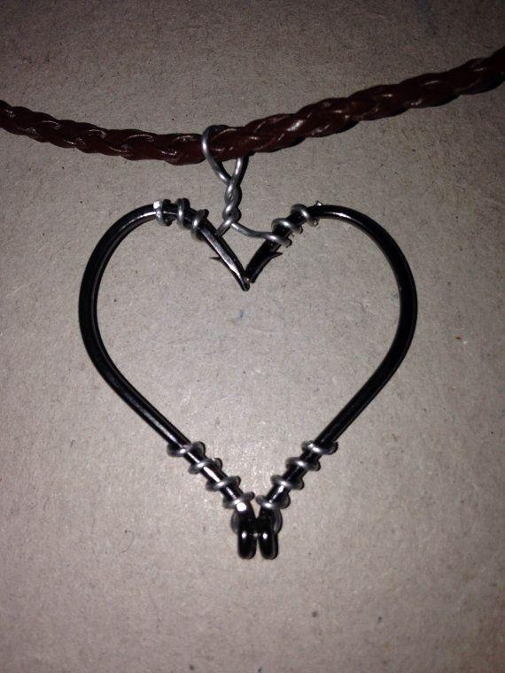 Super cute fish hook heart necklace!