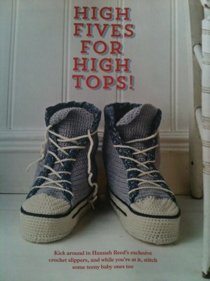 Własnie się tworzą:)    Too cute!! High top crochet sneakers for adults by HanJan Hannah Reed for Mollie Makes