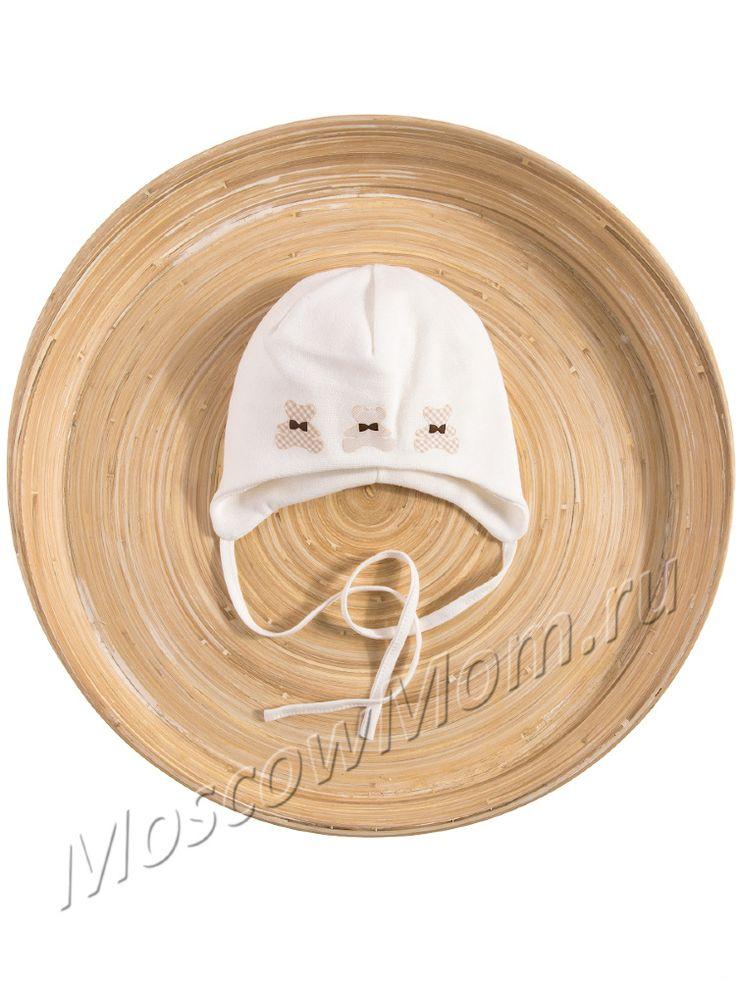 Весенне-летняя шапка для мальчика Marika бежевая с аппликацией мишки - купить в интернет-магазине moscowmom.ru с доставкой и самовывозом