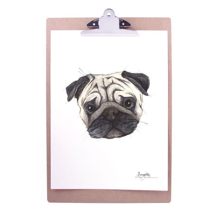 """Mops"" (Pug) Copyright: Emmeselle.no Illustration by Mona Stenseth Larsen"
