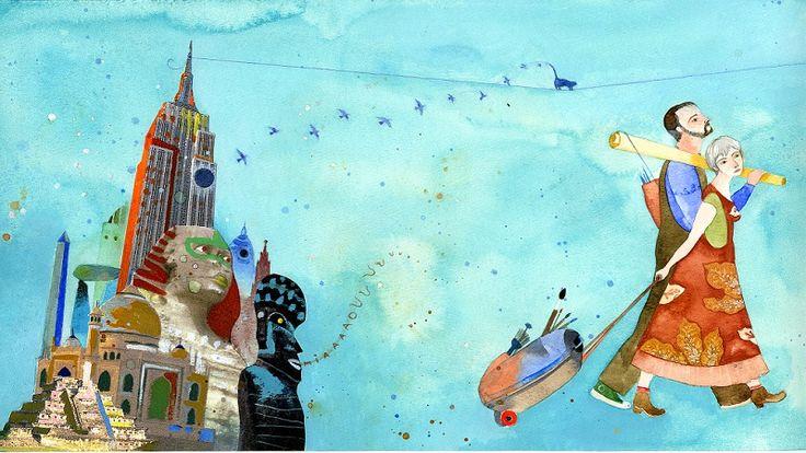 """Alexis Lago (Cuba). Ilustración para """"La gata de los pintores"""", de Antonio Orlando Rodríguez. Panamericana Editorial."""