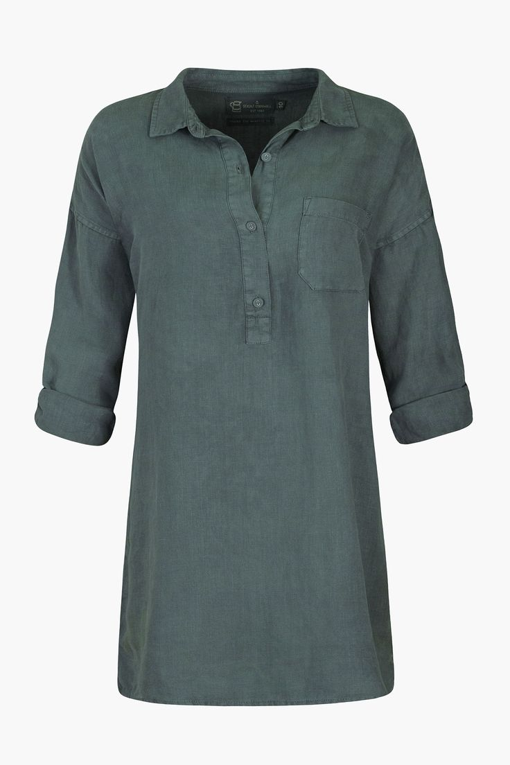 Tunic top in cool, pure linen. A Seasalt classic and inspired by Cornwall's artistic heritage. A long line shirt that's easy to wear whatever the weather.