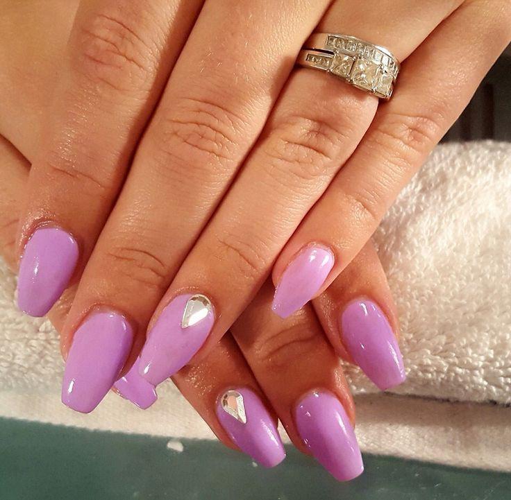 Plain purple coffin shape nails