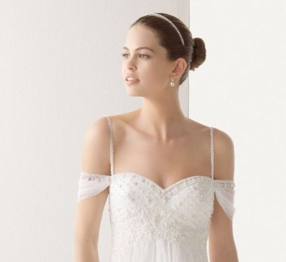 Adding Sleeves To A Wedding Dress: Detachable Straps. Thin Beaded Spaghetti Straps, With Off