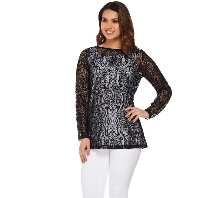 Susan Graver Stretch Lace Tunic & Tank Set