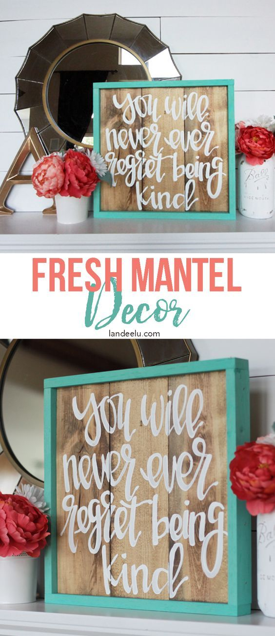Fun & Fresh Mantel Decorating Ideas - Love this hand-painted sign from Salty Bison! Cute and fresh mantel decor!