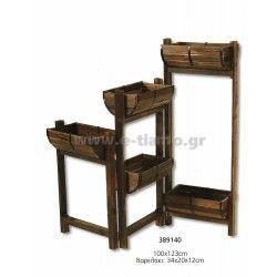 Διακοσμητικό Ξύλινο στάντ stand με ράφια Βαρελάκια  Διάσταση: 100Χ123cm  Βαρελάκι: 34Χ20Χ12cm