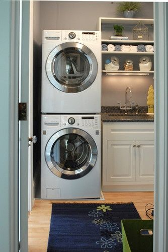 stacked washer dryer in small space laundry the laundry room pinterest small spaces. Black Bedroom Furniture Sets. Home Design Ideas