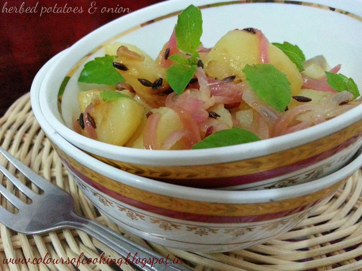 Herbed potato and onion! a great side with a bread or a bagel. Can be enjoyed during main course or even during snack.