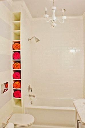 Luv the towel cubbies for a guest bath