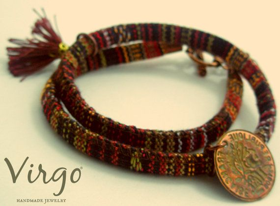 Handmade Double Fabric Cord Brass Coin and Clasp Ethnic Bracelet.  Size: approx. 38cm   We can resize for you, all of our jewelries, so feel free to ask!  Τhe bracelet comes in a gift box!  Do you like this item? See more at: https://www.etsy.com/shop/VirgoHandmadeJewelry  Like us on Facebook:  https://www.facebook.com/VirgoHandmadeJewelry  or   follow us on Pinterest: www.pinterest.com/VirgoJewelry   Thanks for stopping by - Virginia