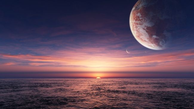 HD Hintergrundbilder sonnenuntergang meer planet himmel, desktop hintergrund