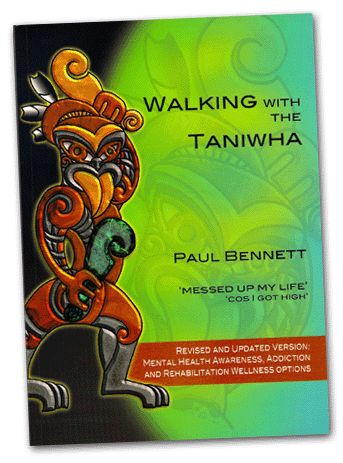 Walking With the Taniwha, by Paul Bennett. A top NZ surfer with the world at his feet, but also a party animal with fringe gang mates, Paul lived a hard-core drug and alcohol life. Inside he was sad, angry and empty and learned he only had 2 months to live. Using natural therapies, Paul began healing, with his family, Maori heritage and the world in general  ,discovering who he really was and wanted to become.