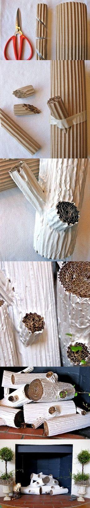DIY – Fake Trunk  Do it with brown corrugated cardboard  (used or new) Faça-o com cartão canelado castanho (usado ou novo)
