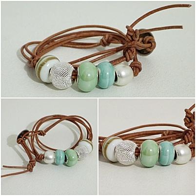 Giuligiu bracelets. Light blue and green...and a vintage button! Handmade jewellery