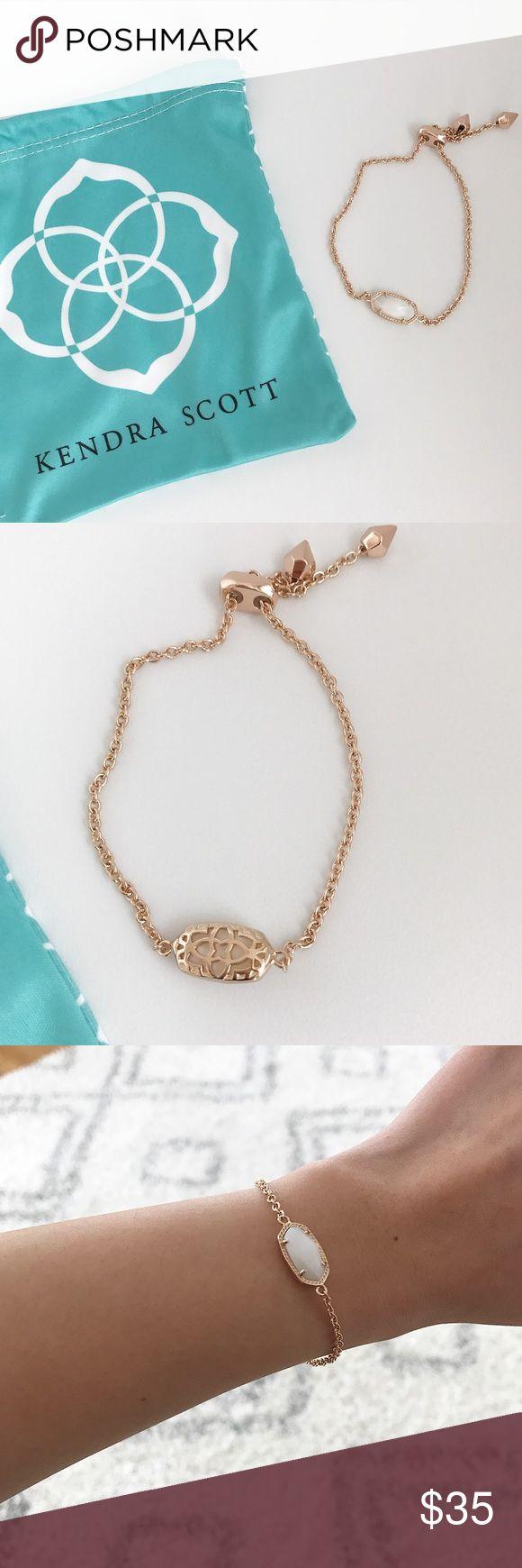 Kendra Scott Elaina Rose Gold Bracelet Kendra Scott Elaina Rose Gold bracelet in white pearl. Sliding closure for the perfect fit. •No trades. •No paypal. •Instagram: CitrusandLavenderLane Kendra Scott Jewelry Bracelets