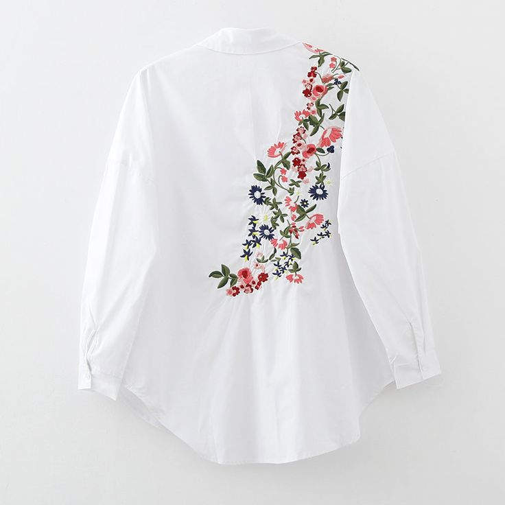 Loose Shirt with Back Floral Embroidery