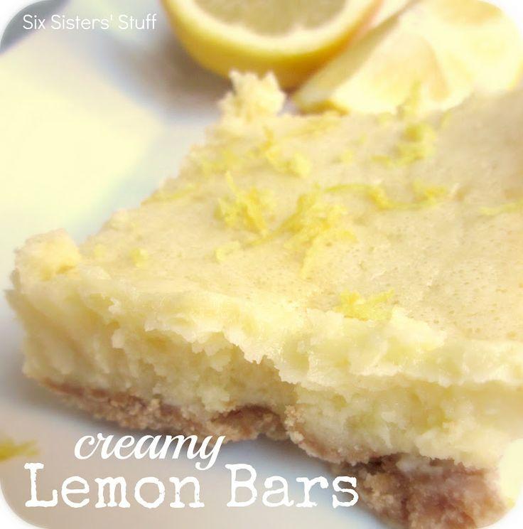 Creamy Lemon Bars from SixSistersStuff.com.  The perfect fruity dessert for summer! #recipes #dessert