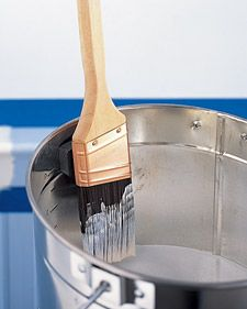 Paintbrush Holder    PrintTo minimize the mess of dripping paint, keep the brush somewhere contained. Attach a strong magnet to the inside of a clean metal paint pail. Keep your paintbrush in place with the magnet, brush side down, when not in use.
