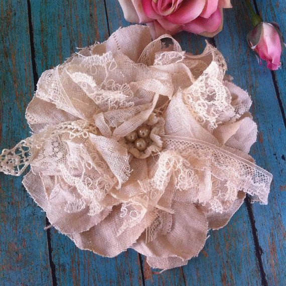 Flower Tiebacks, Wedding Cake Flower, Cake Topper, Shabby Chic Curtains, Linen and Lace Flowers, Lampshade Flowers, Tiebacks, 6 Inch Flower