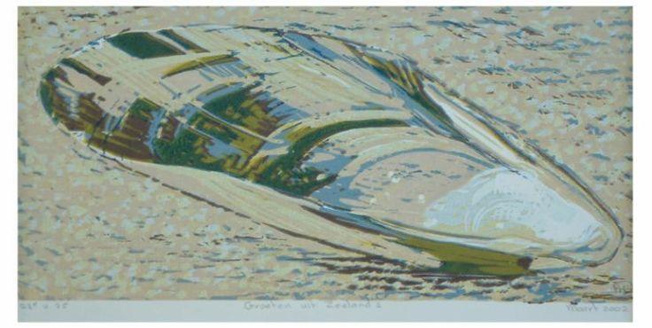 prenten zeeland / Groeten uit Zeeland 2 reductielino op papier, 21 x 15 cm.