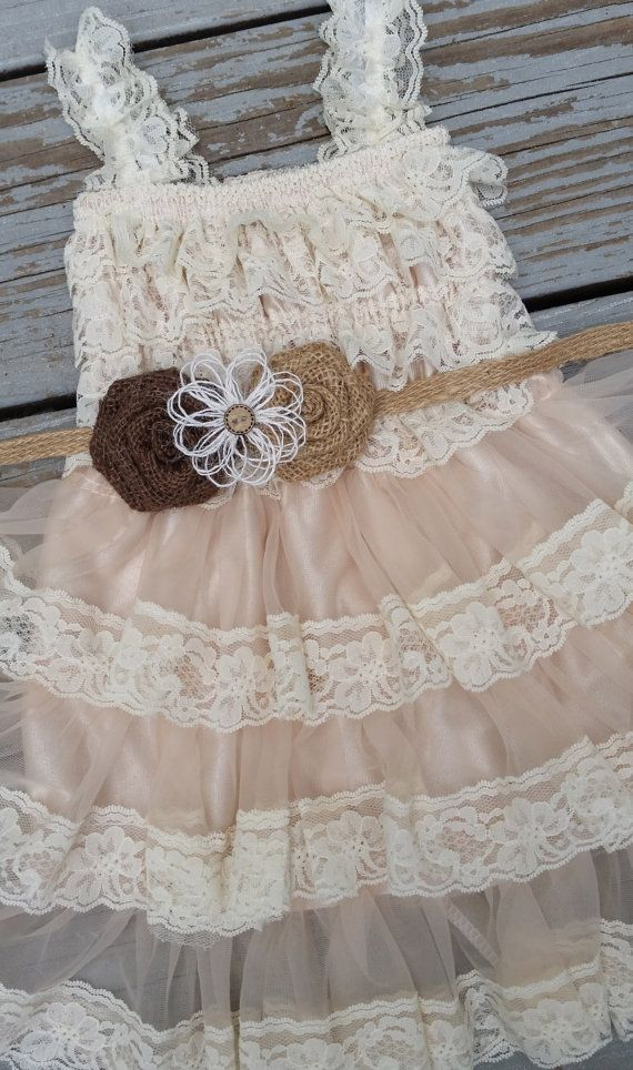 Country Flower Girl Dress/Country Chic Flower by TheDaintyDaisyNJ, $46.50